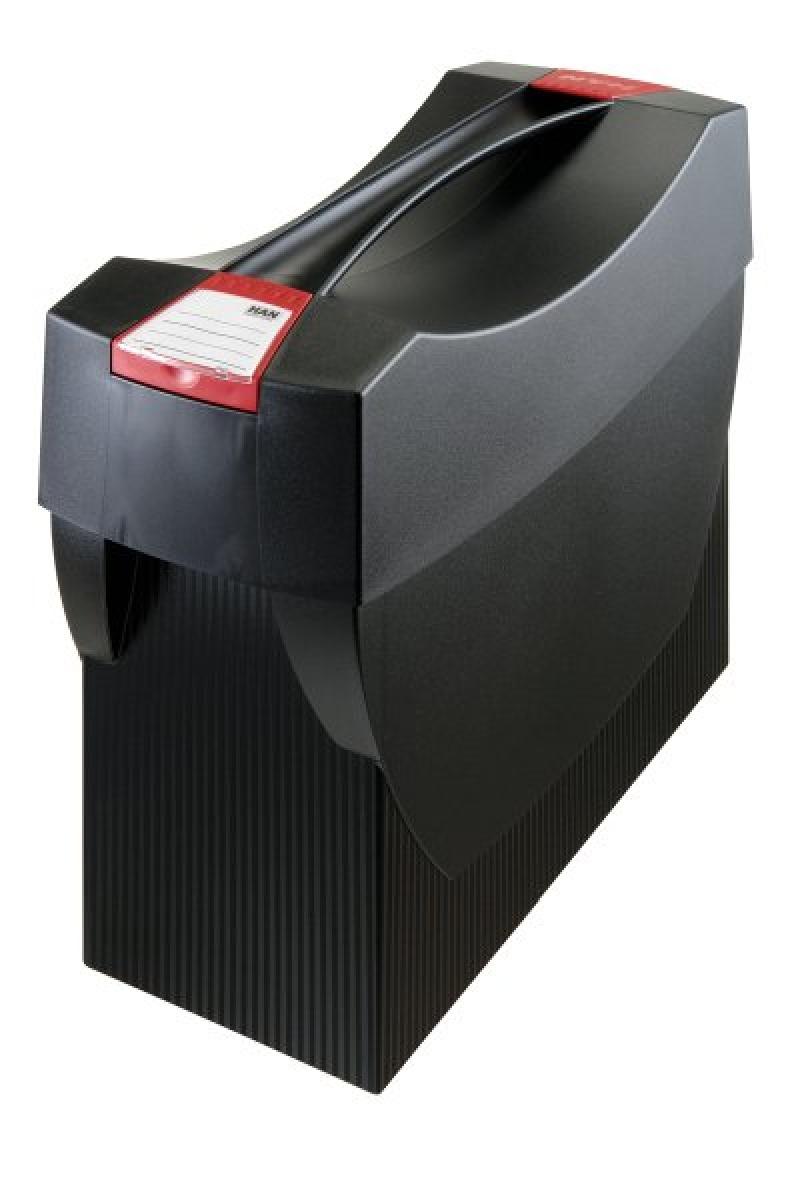 Pojemnik na teczki zawieszkowe HAN Swing Plus, polistyren, A4, z wiekiem, czarny