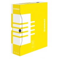 Pudło archiwizacyjne DONAU, karton, A4/80mm, żółte, Pudła archiwizacyjne, Archiwizacja dokumentów