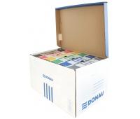 Pudło archiwizacyjne wzmocnione DONAU, karton, zbiorcze, górne, niebieskie, Pudła archiwizacyjne, Archiwizacja dokumentów