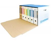 Pudło archiwizacyjne wzmocnione DONAU, karton, zbiorcze, przednie, niebieskie, Pudła archiwizacyjne, Archiwizacja dokumentów
