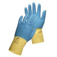 Rękawice montażowe Caspia, lateks/neopren, rozm. 9, żółto-niebieskie, Rękawice, Ochrona indywidualna