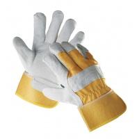 Rękawice Eider, montażowe, wzm. skórą dwoiną wołową, rozm. 10, 5, żółty, Rękawice, Ochrona indywidualna