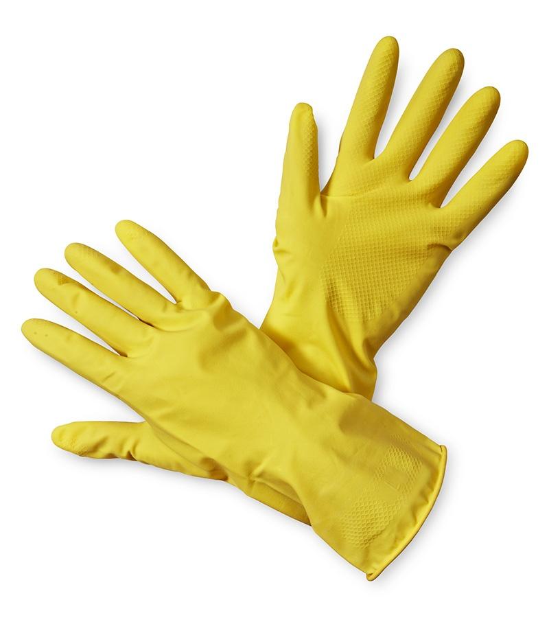 Rękawice ekon. Latex (HS-05-001), gospodarcze, lateks, rozm. 7, żółte, Rękawice, Ochrona indywidualna