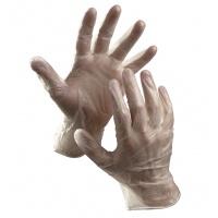 Rękawice Rail jednorazowe winyl pudr. rozm. 7 przeźroczyste 100szt., Rękawice, Ochrona indywidualna