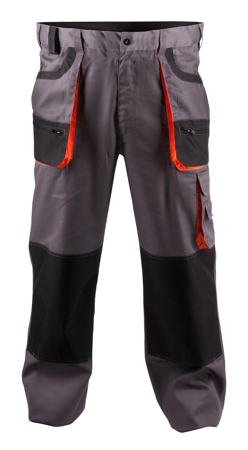 Spodnie ekon. Chris (BE-01-003), bawełna/poliester, rozm. 54, szaro-pomarańczowe, Spodnie, Ochrona indywidualna