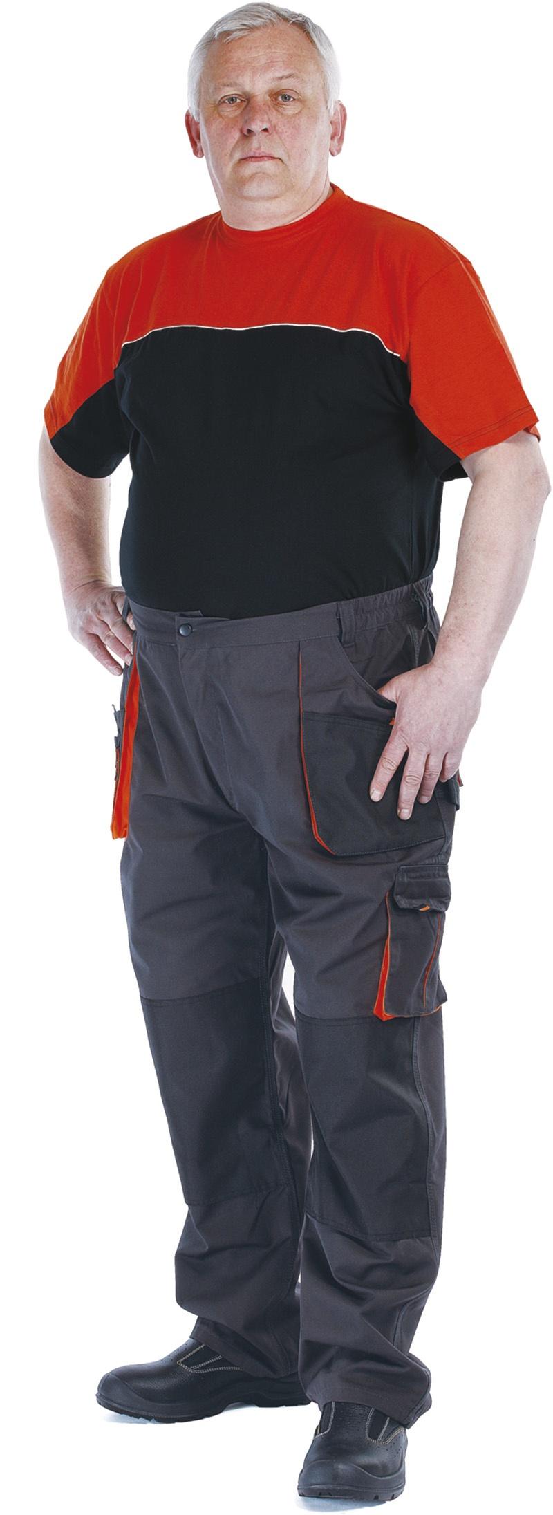 Spodnie Emerton, bawełna/poliester, rozm. 48, antracytowo-pomarańczowe, Spodnie, Ochrona indywidualna