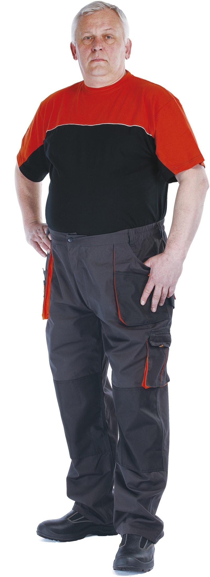 Spodnie Emerton, bawełna/poliester, rozm. 62, antracytowo-pomarańczowe, Spodnie, Ochrona indywidualna