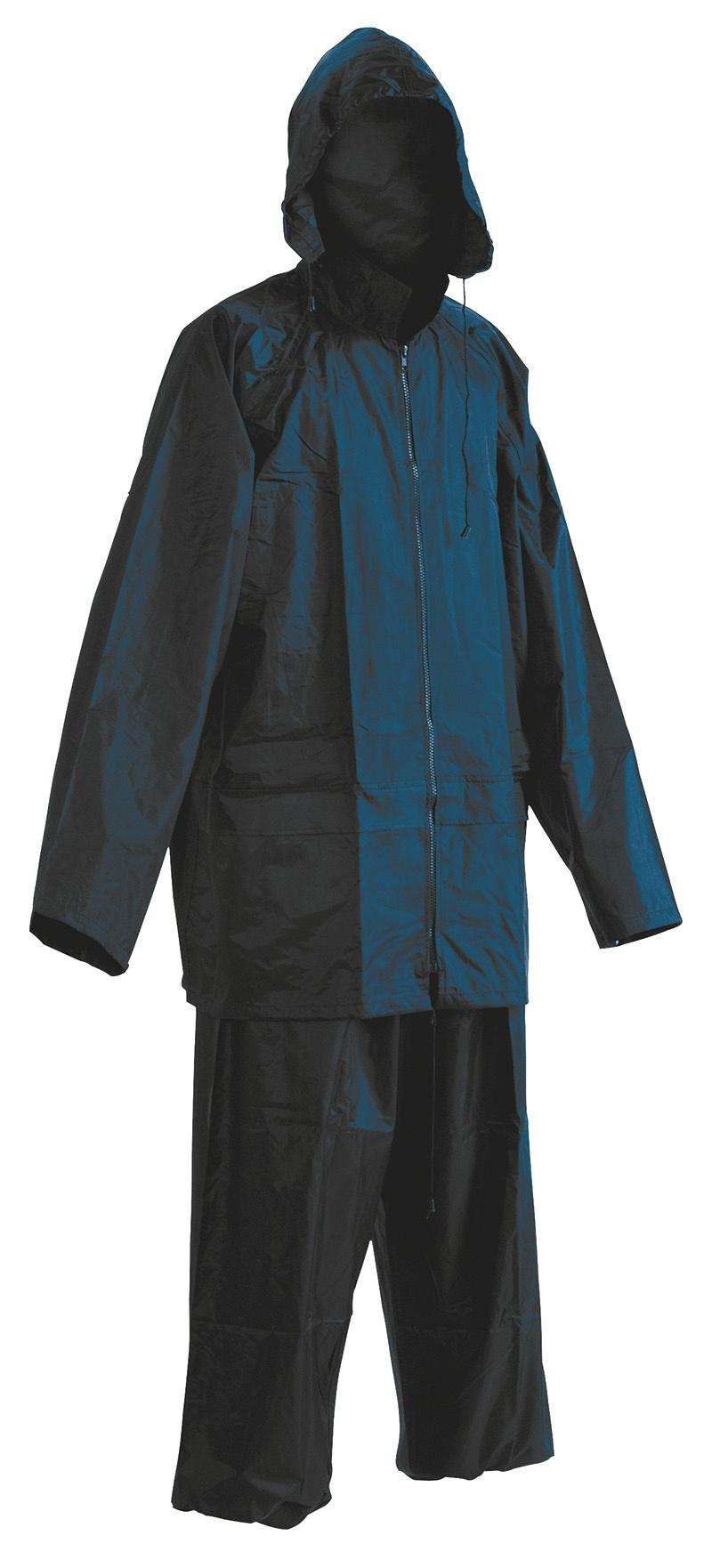 Spodnie i kurtka Carina, poliester, rozm. M, niebieskie, Zestaw przeciwdeszczowy, Ochrona indywidualna