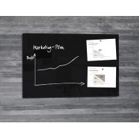 Dry-wipe&magnetic Notice Board 100x65cm glass black