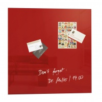 Dry-wipe&magnetic Notice Board, SIGEL, 48x48cm, glass, red