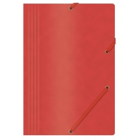 Elasticated File OFFICE PRODUCTS, pressed board, A4, 390gsm, 3 flaps, red