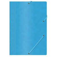 Elasticated File OFFICE PRODUCTS, pressed board, A4, 390gsm, 3 flaps, blue