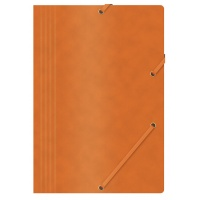 Elasticated File OFFICE PRODUCTS, pressed board, A4, 390gsm, 3 flaps, orange