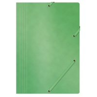 Elasticated File OFFICE PRODUCTS, pressed board, A4, 390gsm, 3 flaps, green