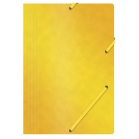Elasticated File OFFICE PRODUCTS, pressed board, A4, 390gsm, 3 flaps, yellow