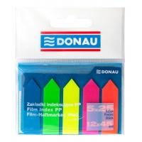 Zakładki indeksujące DONAU, PP, 12x45mm, strzałka, 5x25 kart., mix kolorów, Bloczki samoprzylepne, Papier i etykiety