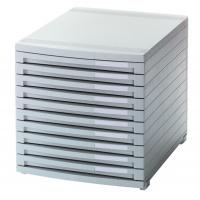 Zestaw 10 szufladek Contur polistyren A4+ szary, Szufladki - zestawy, Drobne akcesoria biurowe