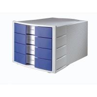 Zestaw 4 szufladek Impuls polistyren A4 szaro-niebieski, Szufladki - zestawy, Drobne akcesoria biurowe