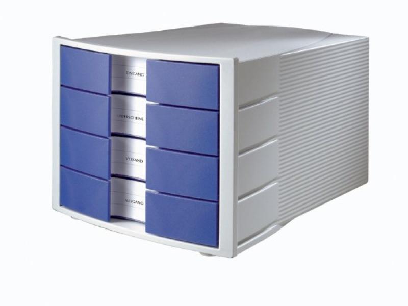 Zestaw 4 szufladek HAN Impuls, polistyren, A4, szaro-niebieski, Szufladki - zestawy, Drobne akcesoria biurowe