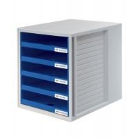 Zestaw 5 szufladek CabinetSet polistyren A4 otwarte niebieski, Szufladki - zestawy, Drobne akcesoria biurowe