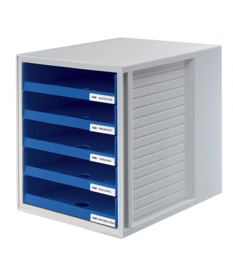 Zestaw 5 szufladek HAN CabinetSet, polistyren, A4, otwarte, niebieski, Szufladki - zestawy, Drobne akcesoria biurowe
