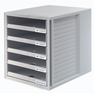 Zestaw 5 szufladek HAN CabinetSet, polistyren, A4, otwarte, szary, Szufladki - zestawy, Drobne akcesoria biurowe