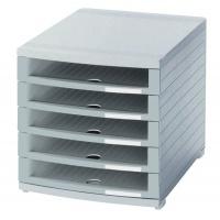 Zestaw 5 szufladek HAN Contur, polistyren, A4+, otwarte, szary, Szufladki - zestawy, Drobne akcesoria biurowe