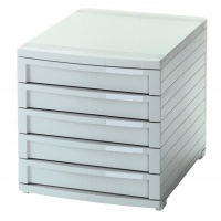 Zestaw 5 szufladek HAN Contur, polistyren, A4+, szary, Szufladki - zestawy, Drobne akcesoria biurowe