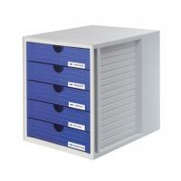 Five-Drawer Set HAN System-Box, polystyrene, A4, grey&blue