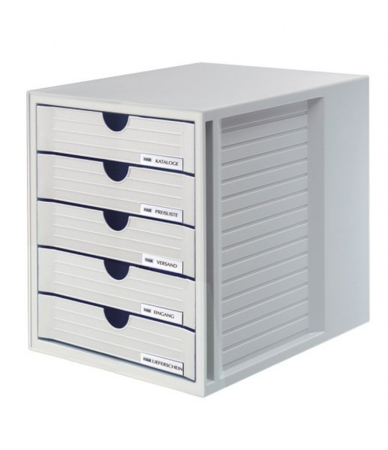Zestaw 5 szufladek System-Box polistyren A4 szary, Szufladki - zestawy, Drobne akcesoria biurowe