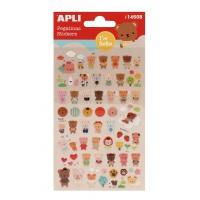 Naklejki APLI Bears, wypukłe, mix kolorów, Produkty kreatywne, Artykuły szkolne