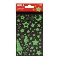 Naklejki APLI Stars, świecące w nocy, zielone, Produkty kreatywne, Artykuły szkolne