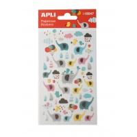 Naklejki APLI Elephants, z brokatem, mix kolorów, Produkty kreatywne, Artykuły szkolne