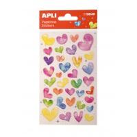 Naklejki APLI Hearts, z brokatem, mix kolorów, Produkty kreatywne, Artykuły szkolne