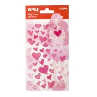 Naklejki APLI Hearts, z brokatem, różowe, Produkty kreatywne, Artykuły szkolne