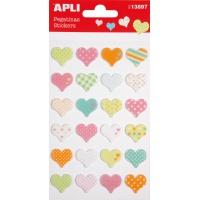 Naklejki APLI Hearts, z filcu, mix kolorów, Produkty kreatywne, Artykuły szkolne