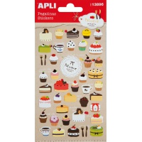 Naklejki APLI Sweet, wypukłe, mix kolorów, Produkty kreatywne, Artykuły szkolne
