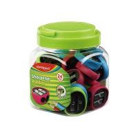 Temperówka KEYROAD Rubber, plastikowa, podwójna, pakowane w tubę, mix kolorów, Temperówki, Artykuły do pisania i korygowania