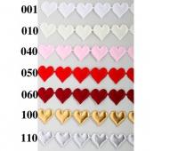 Aplikacje atłasowe serce duże 22x25mm/1mb, bordowe, Produkty kreatywne, Artykuły dekoracyjne