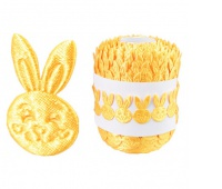 Aplikacje głowa zająca 1,7x2,7cm/29szt, żółty, Produkty kreatywne, Artykuły dekoracyjne