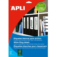 Self-adhesive Labels for APLI Binders, 38x190mm, 175pcs, white