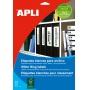 Etykiety samoprzylepne do segregatora APLI, 38x190mm, 175szt., białe, Etykiety opisowe, Papier i etykiety