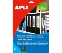 Etykiety samoprzylepne do segregatora APLI, 61x190mm, 100szt., białe, Etykiety opisowe, Papier i etykiety