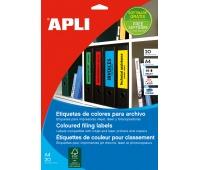 Etykiety samoprzylepne do segregatora APLI, 61x190mm, 100szt., czerwone, Etykiety opisowe, Papier i etykiety