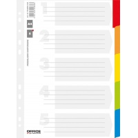 Dividers OFFICE PRODUCTS, cardboard, A4, 227x297mm, 5pcs, laminated index tabs, assorted colours