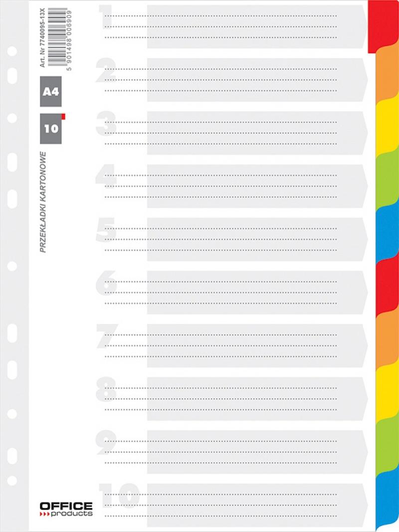 Przekładki OFFICE PRODUCTS, karton, A4, 227x297mm, 10 kart, lam. indeks, mix kolorów, Przekładki kartonowe, Archiwizacja dokumentów