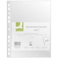 Punched Pockets Q-CONNECT, PP, A4, orange peel, 50 micron, 100pcs