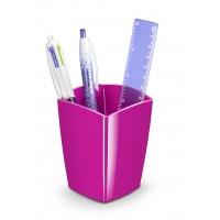 Pojemnik na długopisy Pro Gloss polistyren różowy, Przyborniki na biurko, Drobne akcesoria biurowe