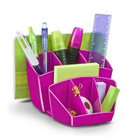 Przybornik na biurko Pro Gloss polistyren różowy, Przyborniki na biurko, Drobne akcesoria biurowe