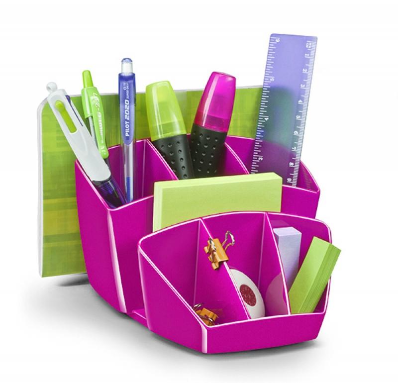Przybornik na biurko CEPPro Gloss, polistyren, różowy, Przyborniki na biurko, Drobne akcesoria biurowe